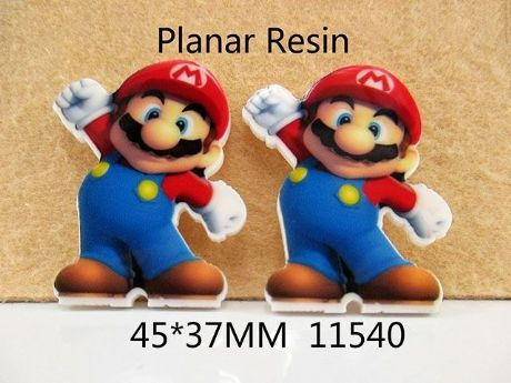 5 x 33mm MARIO BROTHERS LASER CUT FLAT BACK RESIN HEADBANDS HAIR BOWS CRAFTS